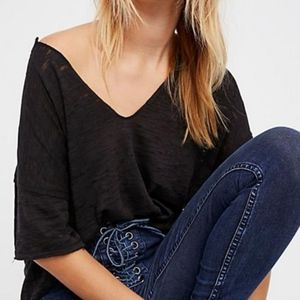 NWOT Free People We The Free Maddie Tee, Black Lg
